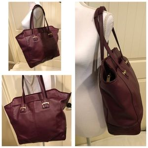 Coach Taylor North/South Burgundy Leather Tote